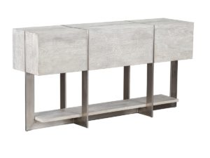 60″ Whitewash Wood and Iron Console Table