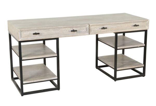 white wash wood and iron desk