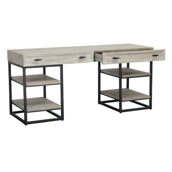 whitewash wood and iron desk with open drawer