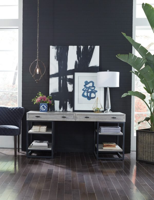 white wash and iron desk in living room setting