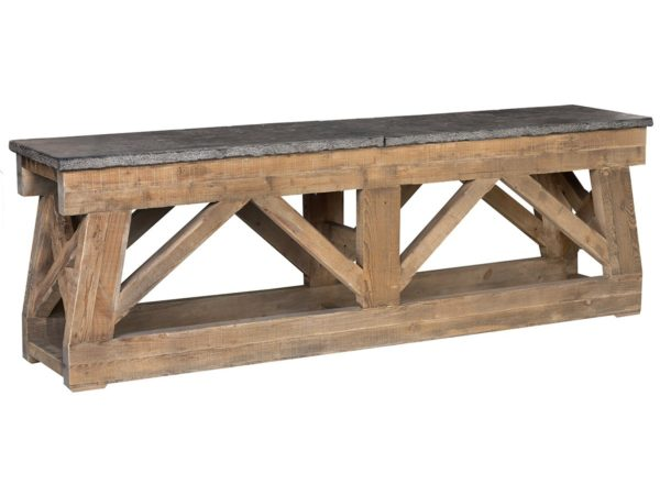 long wood and stone console table
