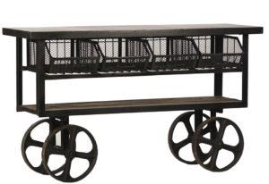 61″ Industrial Metal and Wood Trolley Table