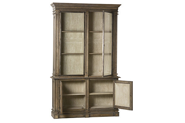 tall wood glass cabinet with open doors