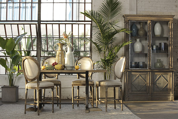 tall wood glass cabinet in dining room setting