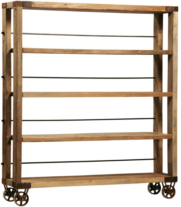 wood and iron bookshelf on wheels