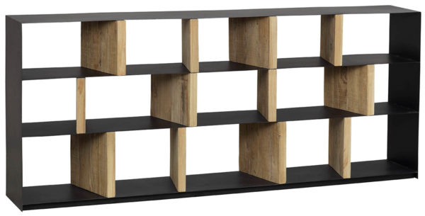natural wood and metal bookcase
