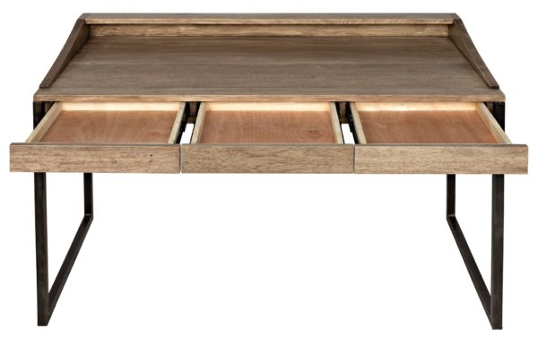natural wood desk with open drawers