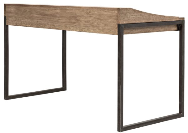 natural wood desk with iron legs back view