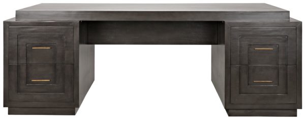 large dark wood desk with brass hardware