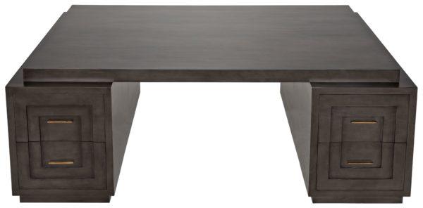 large dark wood desk top view