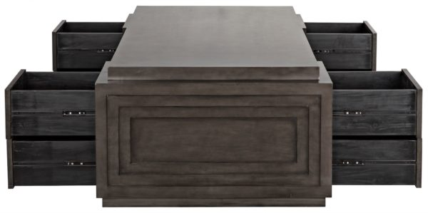 dark wood large desk with open drawers