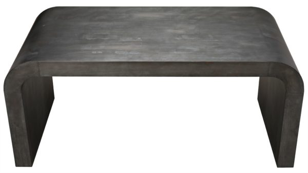 zinc grey console table top view