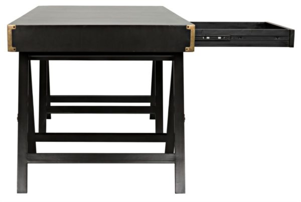 campaign style black desk with open drawer