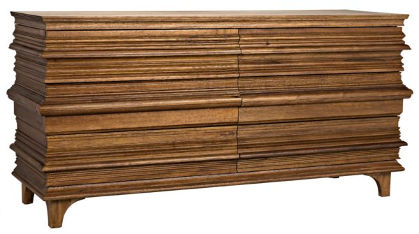 medium brown wood dresser with 6 drawers