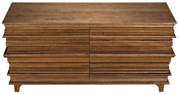 medium brown wood dresser top view