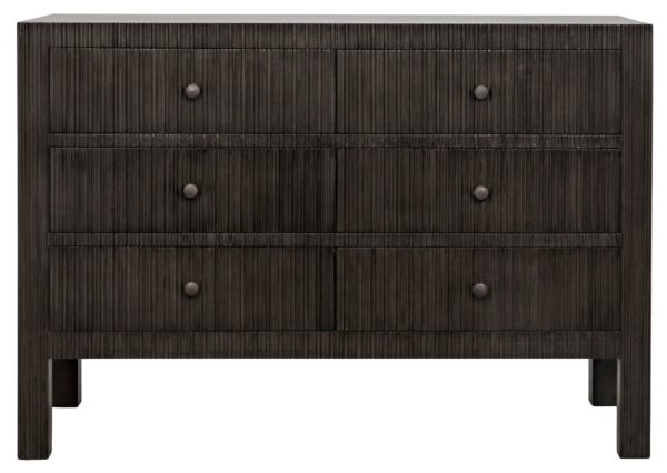 dark wood dresser with 6 drawers front view