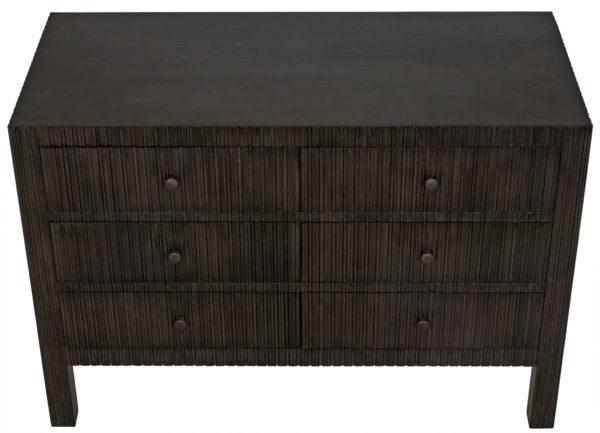 dark wood sideboard top view