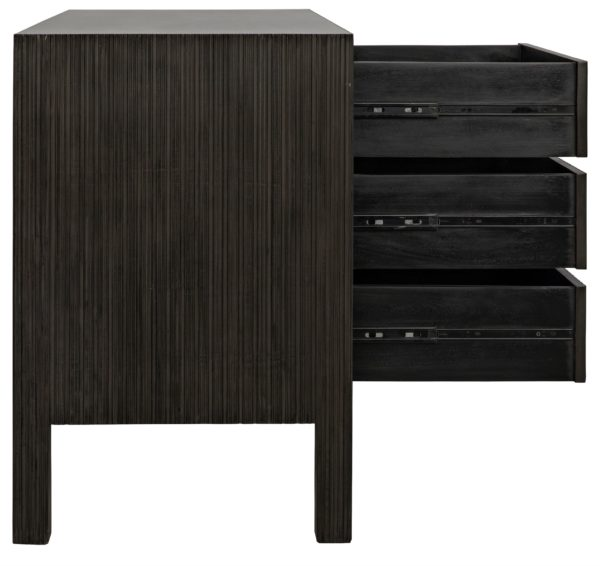 dark wood dresser with open drawers