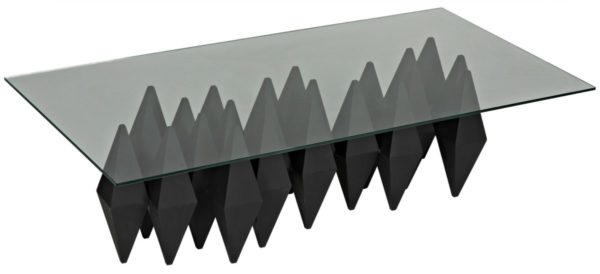 glass coffee table with black metal base