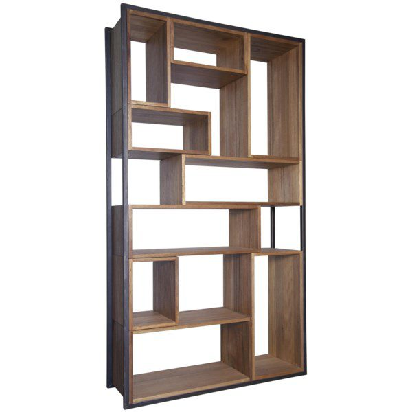 walnut wood and iron bookcase