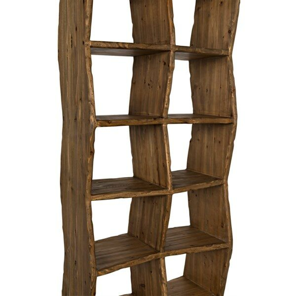 dark reclaimed wood bookshelf side view