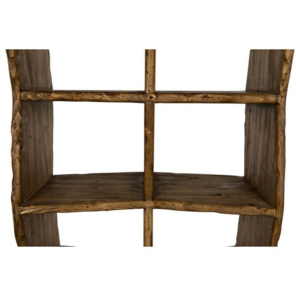 dark reclaimed wood bookshelf close up