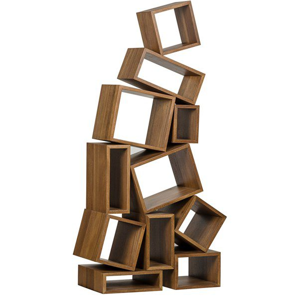 stacked wood cubes bookcase