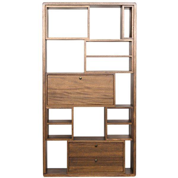 natural walnut wood bookcase