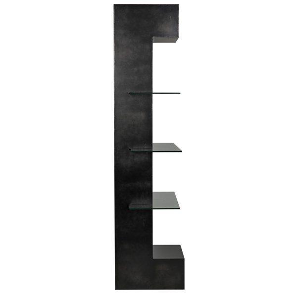 dark metal and glass narrow bookshelf side view
