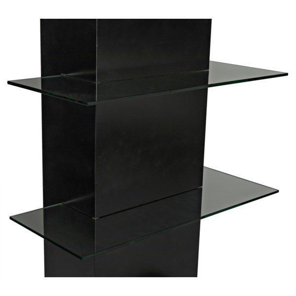 dark metal and glass narrow bookshelf close up