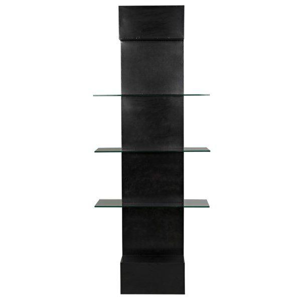 dark metal and glass narrow bookshelf