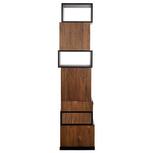 dark walnut modern bookcase back view