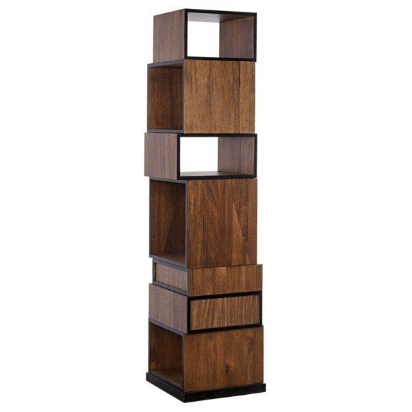 modern dark walnut wood bookcase