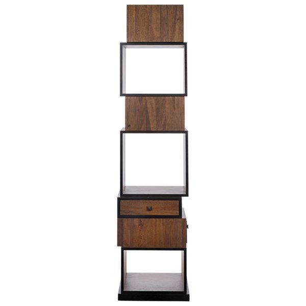 dark walnut wood bookcase front view