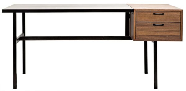 modern wood and iron desk front view