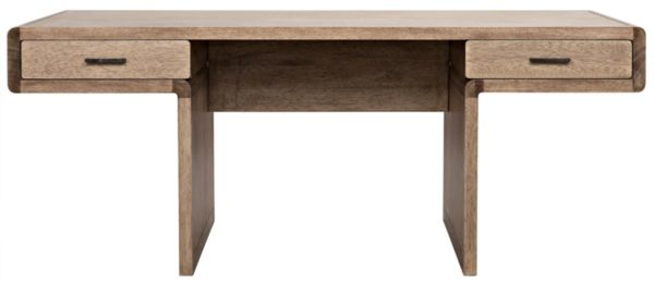 natural wood desk with 2 drawers