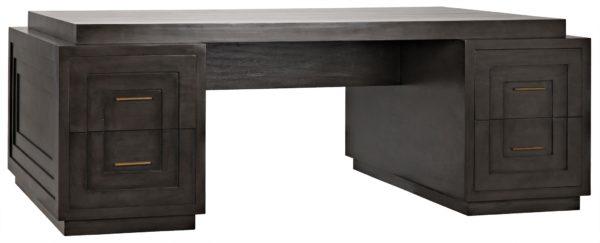 dark wood large desk with brass hardware