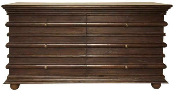 brown wood dresser with 6 drawers