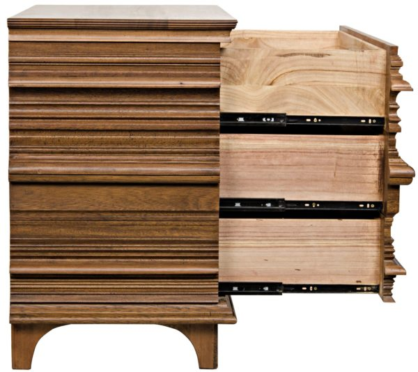 medium brown wood dresser with open drawers