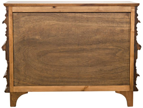 medium brown wood dresser back view
