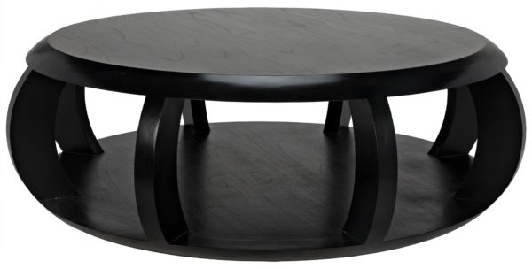 black wood round coffee table