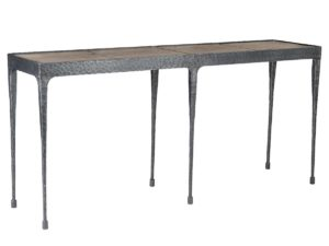 Wood and Hammered Iron Console Table