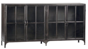 York Black Iron and Glass Sideboard TV Cabinet