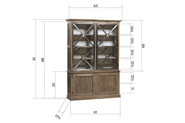 wood and iron tall glass cabinet