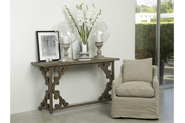 grey wash wood console table in living room setting