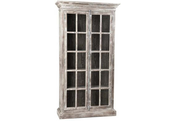 Tall reclaimed wood cabinet with glass doors