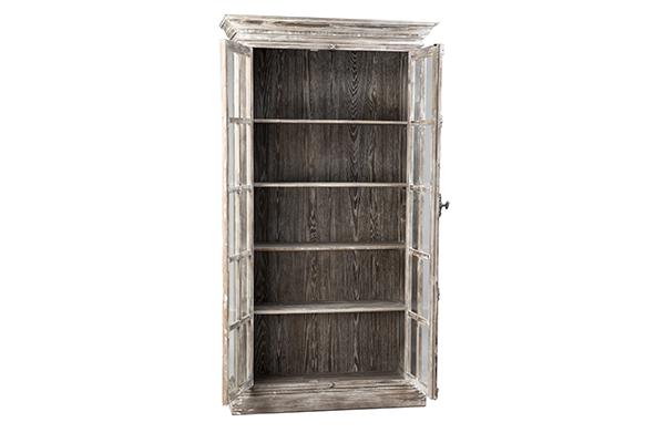 Tall reclaimed wood cabinet with glass doors inside
