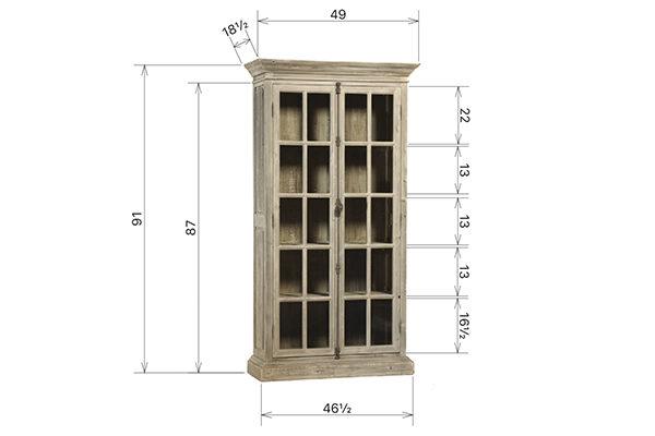 light wood tall glass cabinet