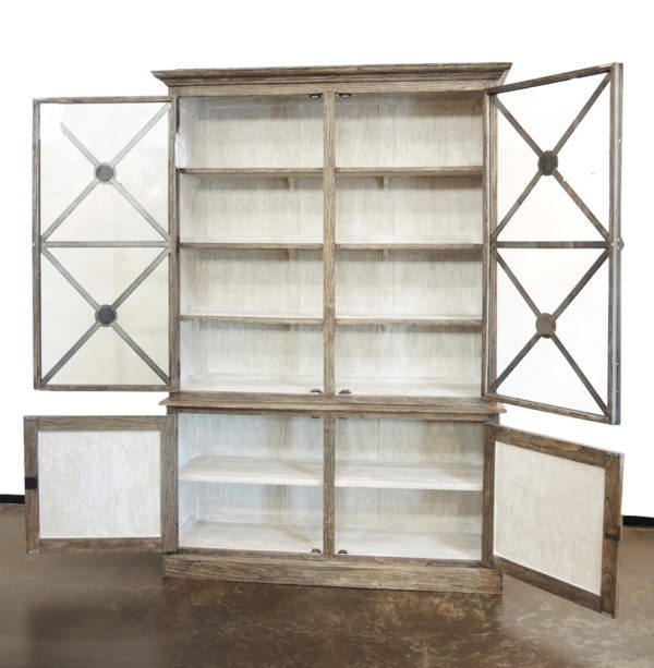 wood and iron tall glass cabinet with open doors