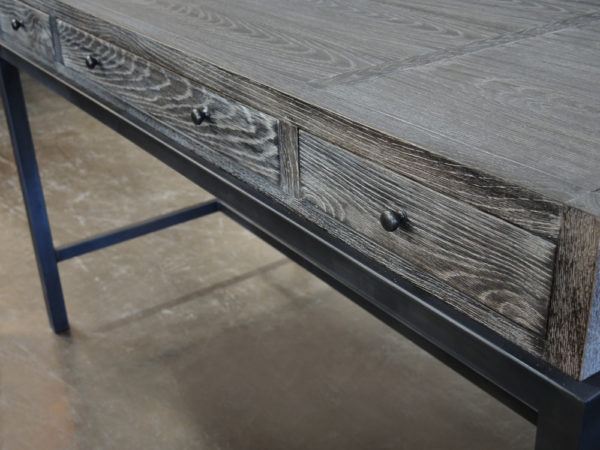 dark grey distressed desk close up